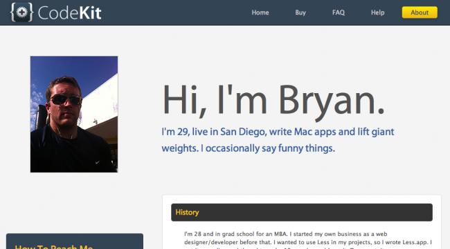 Codekitの作者ブライアンの紹介ページよ