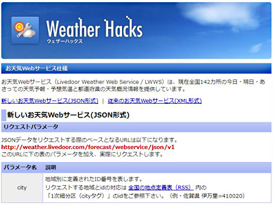 Weather Hacks お天気Webサービス
