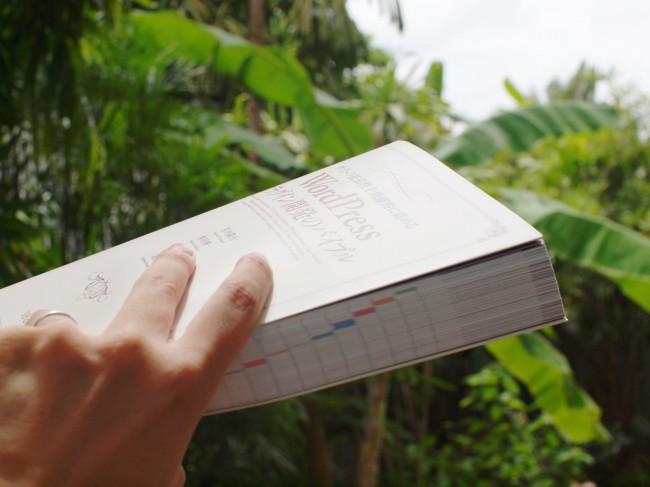 こんな感じの分厚い本です。背景は西川が働いているタイのコワーキングスペースの庭。